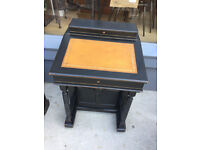 Davenport Desk - free local delivery , sloped desk with brown leather. feel free to view