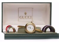 Ladies Gucci Bangle Quartz wrist watch the round white dial lacking numerals