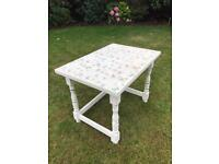 Vintage look, shabby chic, butterfly print side table