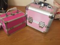 Pink vanity cases large &a small