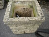 A VERY OLD HEAVY LARGE STONE PLANTER 14x14x13 inches