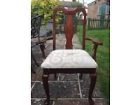 Mahogany Dining Chair for upcycling with arms