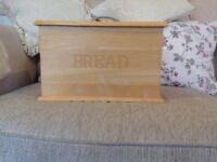 Large rectangular wooden bread bin with chrome handle Ramsgate