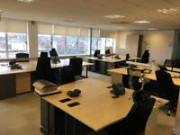 OFFICE CLEARANCE - 24 x Beech Office 1600mm Desks + Pedestals/Cupboards/Chairs & more...