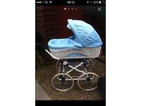 Wicker baby blue pram and car seat