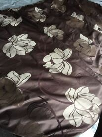 Curtains. Brown and Gold. 136cm drop