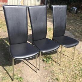 DINING CHAIRS SET OF 3 BLACK