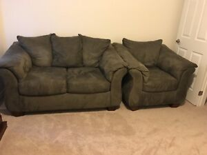 Grey suede loveseat and chair