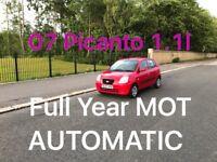 £1150 AUTOMATIC 2007 Kia Picanto 1.1l* like yaris corsa clio punto micra polo fiesta lupo c1 aygo