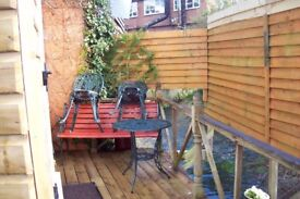 Studio with mezzanine 'bedroom' - fully furnished with crockery etc. All bills inclusive.