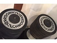 Dumbbells 54KG Pair Rubber Edged Technogym Heavy Weights