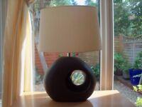 Modern table lamp, brown base cream Shade