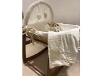 Moses basket with rocker, mattress and matching blanket