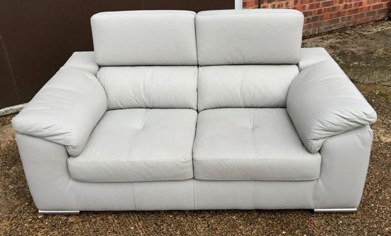 New Hygena Valencia 2 Seater Genuine Leather Sofa Grey