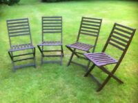 Four Dark Wood Folding Patio Chairs