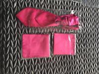 Pink cravat and 2 matching hankies