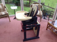 Activa Jane reclining High Chair which converts to a table & chair. 6month to 3 years. Used but VGC