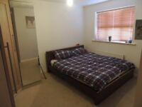 King-size Brown wooden bed frame with mattress £100