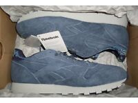 Reebok Classic Leather / Suede Trainers Blue Size 9 Mens running shoes jogging gym pub
