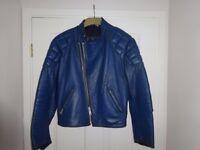 Blue Leather Motorcycle Jacket