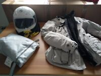 Ladies motorbike jacket, helmet and motorcycle cover. Can be bought separately.