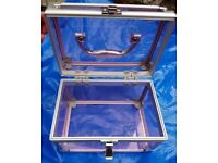 Hand Held Pink Tinted Glass Beauty or Jewellery Case - Collection Stockport