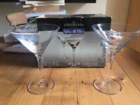 2 Crystal Martini Glasses