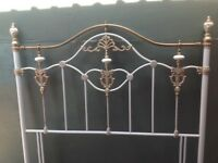 White & Antique gold 4'6 double metal headboard.