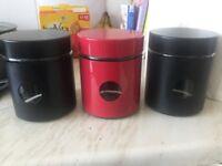 3 x glass storage jars