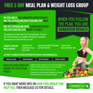 ONLINE 5 Day Meal Plan + Weight Loss Group [FREE]