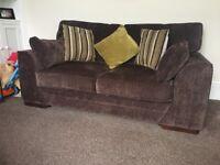Brown Fabric Two Seater Sofa