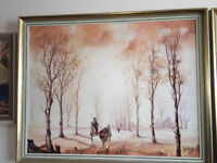 Fab Jorge Aguilar-Agon – Framed Oil Painting – Winter Landscape