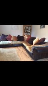 Large corner sofa and foot stool for sale very good condition