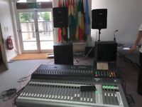 Mackie TT24 Digital Live Mixing console, Yamaha Pre Amps, Bose FOH System