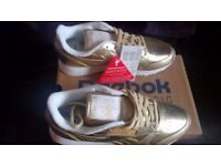 REEBOK X FACE STOCKHOLM CLASSIC LEATHER SPIRIT TRAINERS SIZE 4 NEW