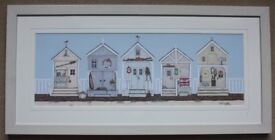 Row Of Beach Huts by Sally Swannell - Framed Print