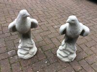Concrete garden pair of eagle ornaments