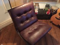 Vintage Danish leather sling chair - mid century. Very comfortable. High quality leather