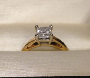 1 ct solitaire princess cut diamond ring