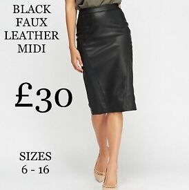 FAUX LEATHER MIDI SKIRT.BLACK. SIZES AVAILABLE 6- 16. WOMENS CLOTHING,LADIES CLOTHES.