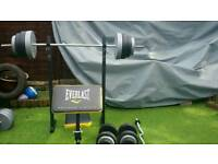 Everlast fitness bench and 90kg plstic weights