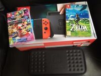 Barely Used Nintendo Switch Neon with Games & Carry Case