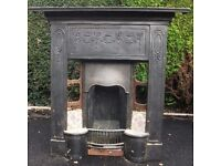 steel fireplace with tiles