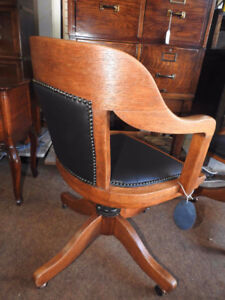 antique vintage office chair new black leather seat/ lower back