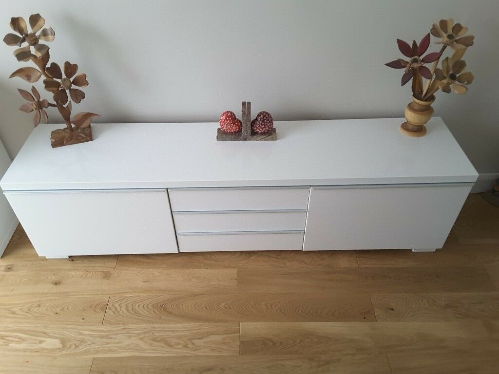 Ikea Besta Burs Tv Bench High Gloss White Excellent