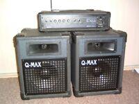 Q-Max MS100 amp & pair of matching speakers