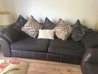 2 seater and three seater sofa and footstool play curtains and rug