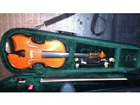 Childrens violin, case and music stand