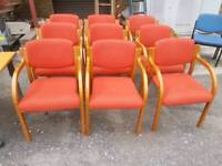 Chairs - Light Coloured Wood and Red Fabric Armchairs
