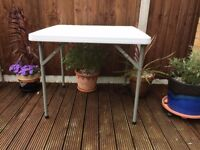 Strong 2ft 10in Square Plastic Top Table With Foldaway Legs